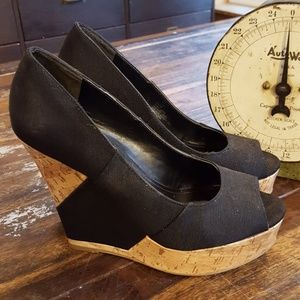 BCBGENERATION Black cork wedge platform shoes